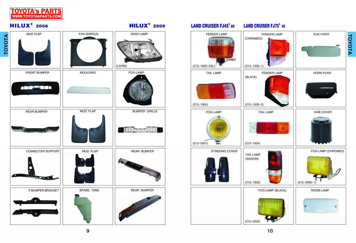 Toyota Body Parts Catalog, Head Lamp, Rear Lamp, Bumper ...