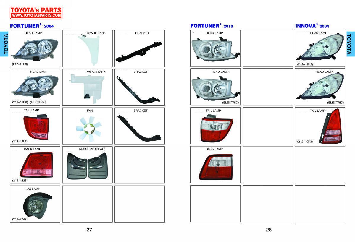 Toyota Body Parts Catalog Head Lamp Rear Lamp Bumper