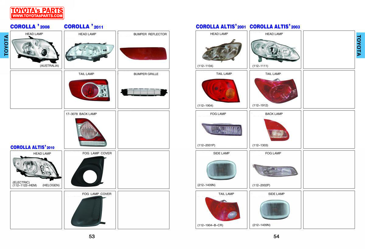 Toyota Body Parts Catalog Head Lamp Rear Lamp Bumper